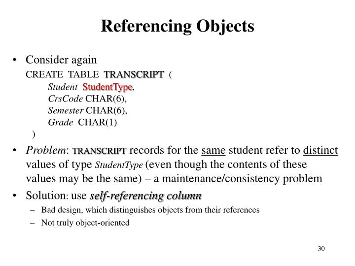 Referencing Objects