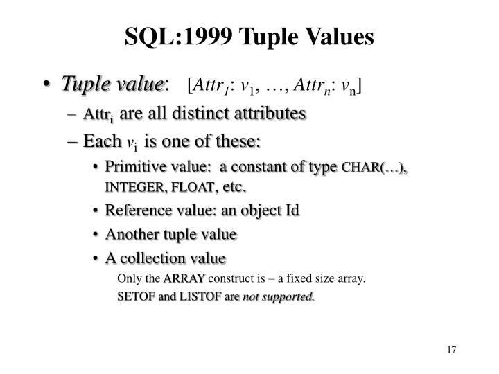SQL:1999 Tuple Values