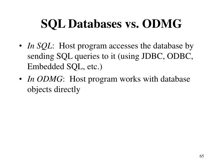 SQL Databases vs. ODMG