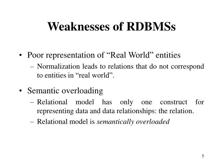 Weaknesses of RDBMSs