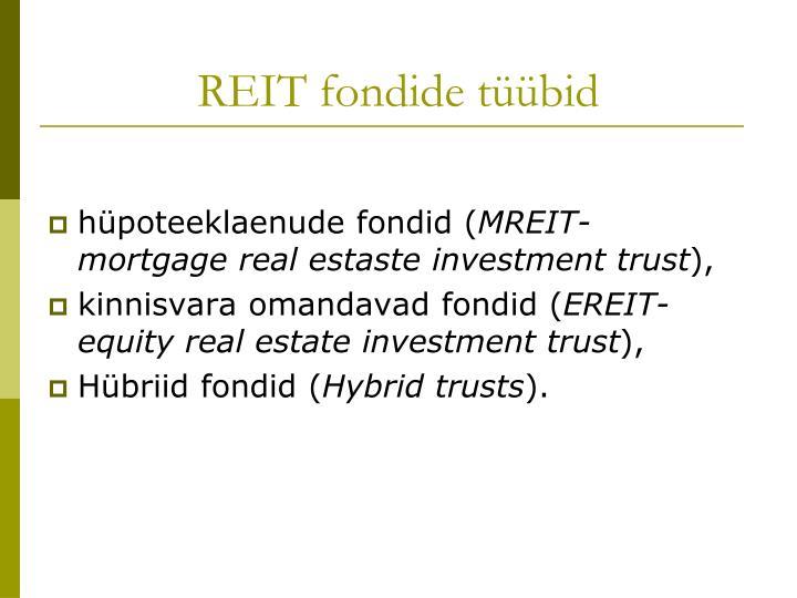 REIT fondide tüübid