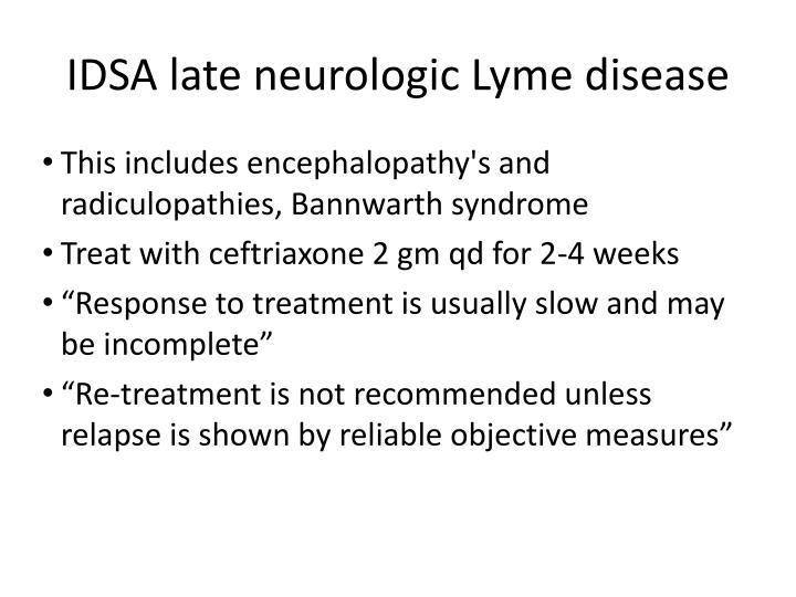 IDSA late neurologic Lyme disease