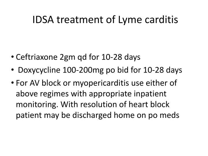 IDSA treatment of Lyme carditis