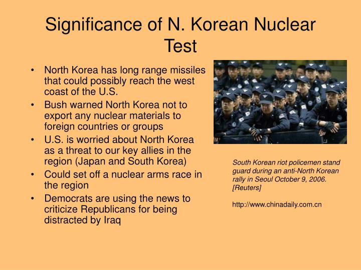 Significance of n korean nuclear test