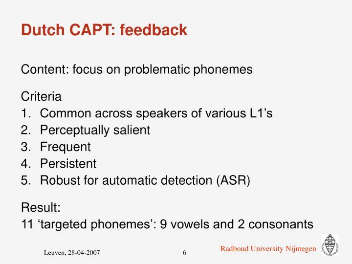 Dutch CAPT: feedback