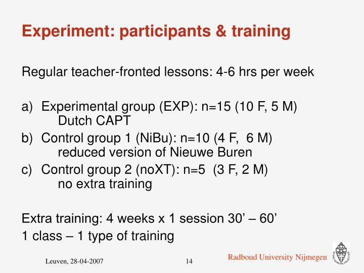 Experiment: participants & training