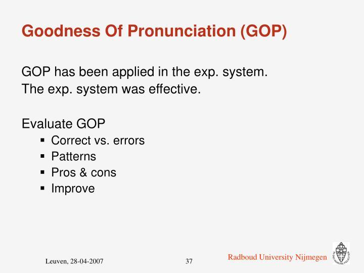 Goodness Of Pronunciation (GOP)