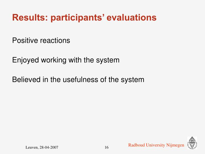 Results: participants' evaluations