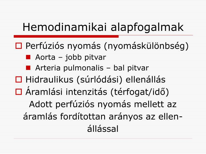 Hemodinamikai alapfogalmak