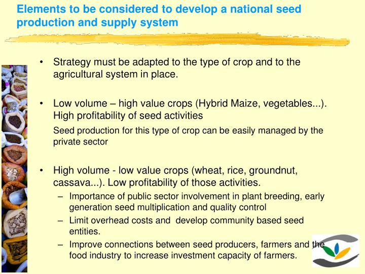 Elements to be considered to develop a national seed production and supply system