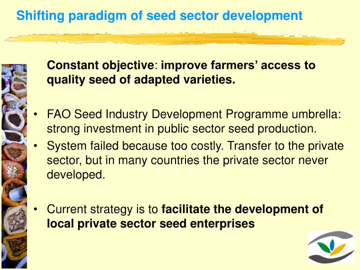 Shifting paradigm of seed sector development