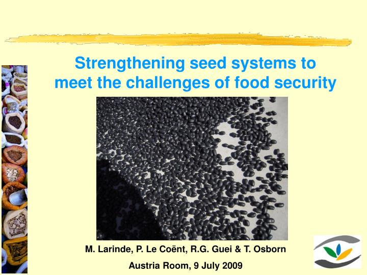 Strengthening seed systems to meet the challenges of food security
