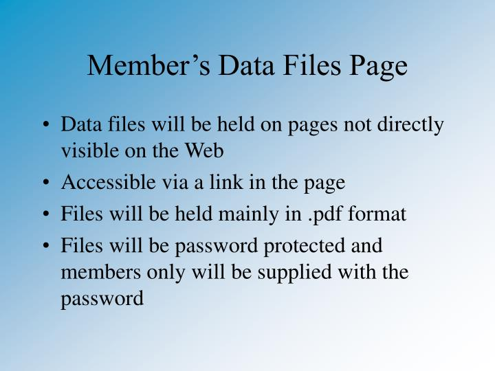 Member's Data Files Page
