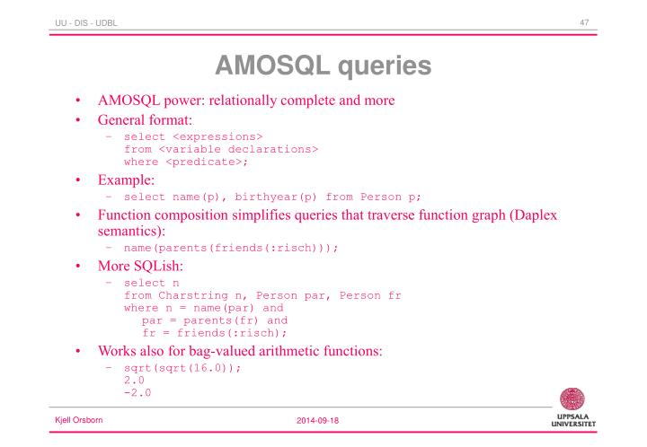 AMOSQL power: relationally complete and more