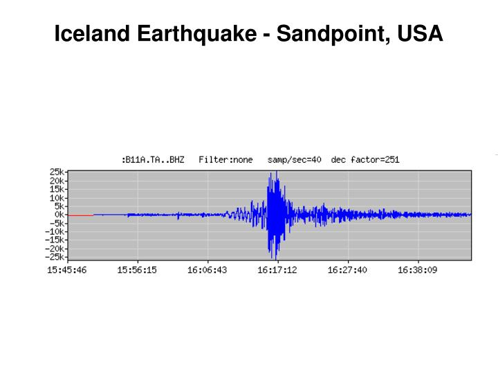 Iceland Earthquake - Sandpoint, USA