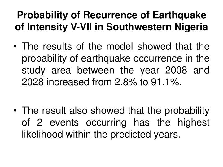 Probability of Recurrence of Earthquake of Intensity V-VII in Southwestern Nigeria