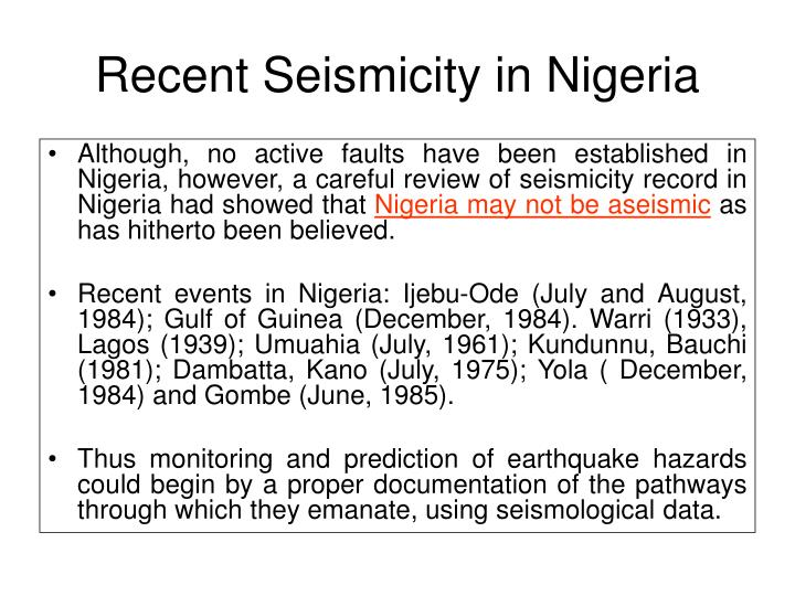 Recent Seismicity in Nigeria