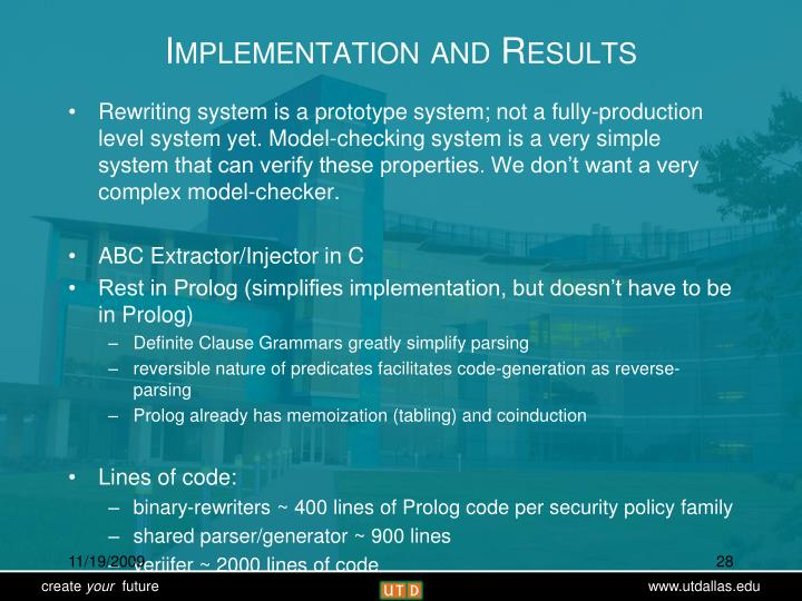 Implementation and Results
