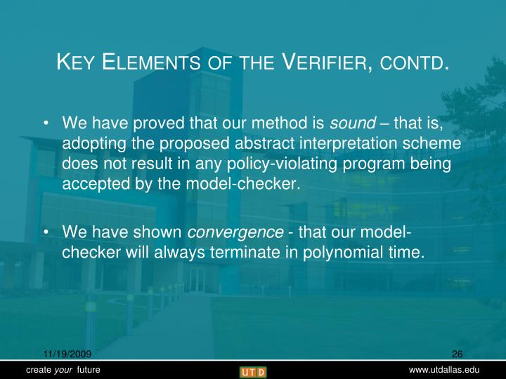 Key Elements of the Verifier, contd.