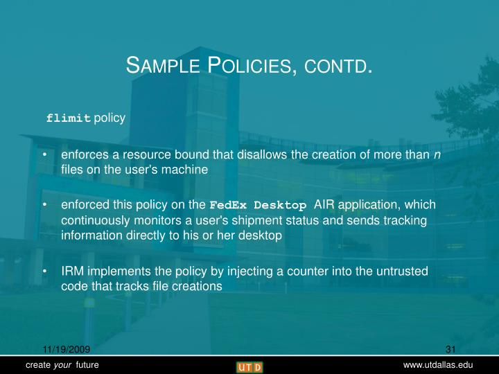 Sample Policies, contd.