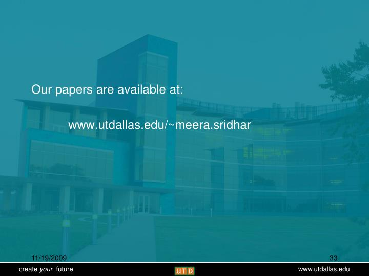 Our papers are available at: