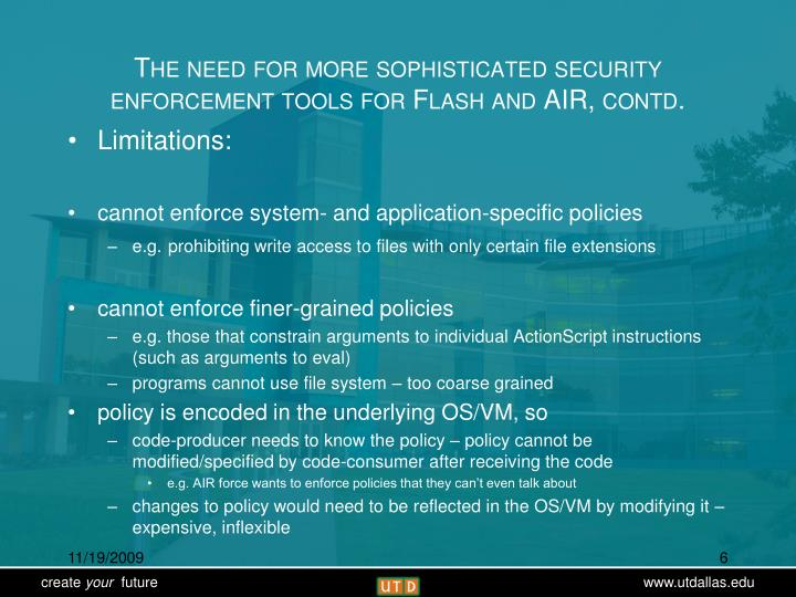 The need for more sophisticated security enforcement tools for Flash and AIR, contd.
