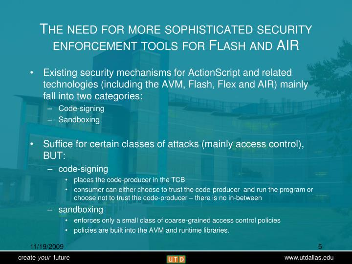 The need for more sophisticated security enforcement tools for Flash and AIR