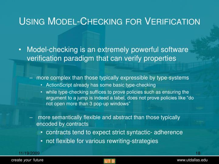 Using Model-Checking for Verification