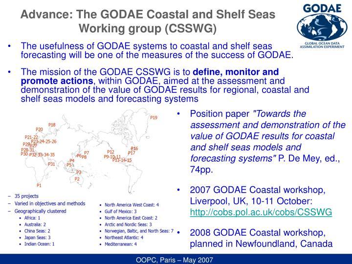 Advance: The GODAE Coastal and Shelf Seas