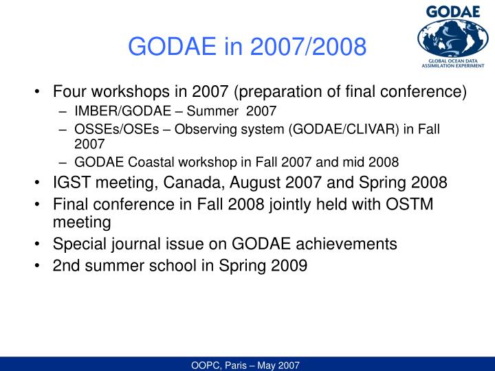GODAE in 2007/2008