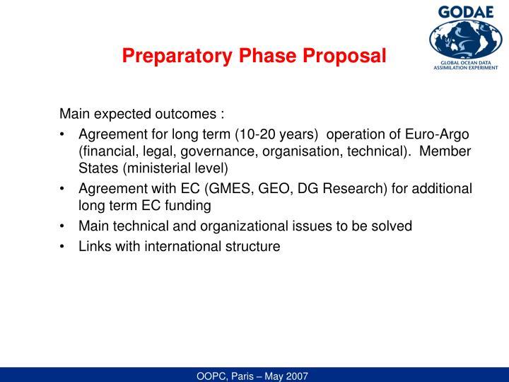 Preparatory Phase Proposal