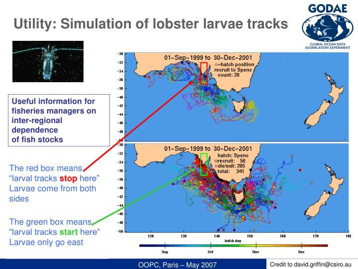 Utility: Simulation of lobster larvae tracks