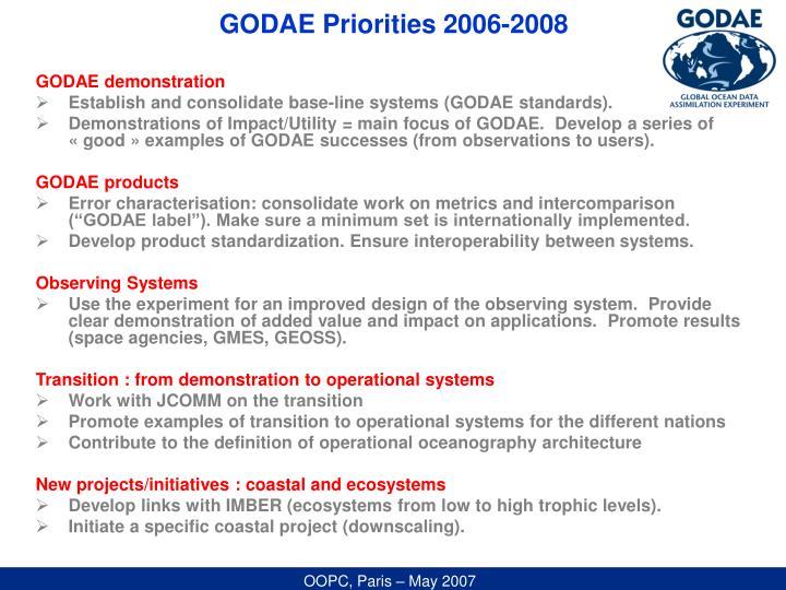 GODAE Priorities 2006-2008