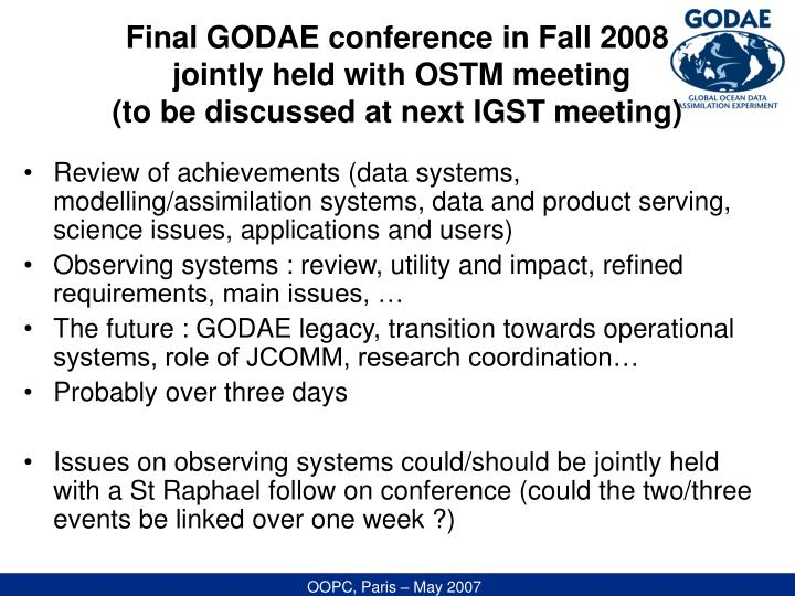 Final GODAE conference in Fall 2008