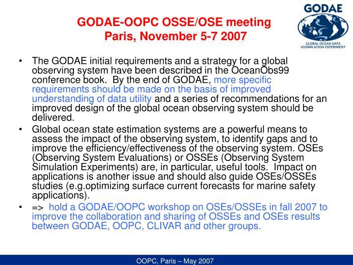 GODAE-OOPC OSSE/OSE meeting