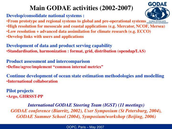 Main GODAE activities (2002-2007)