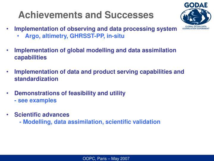 Achievements and Successes