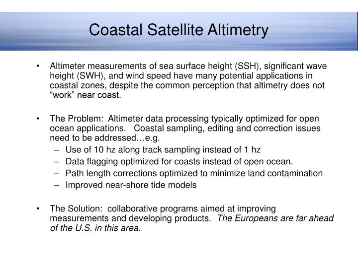 Coastal Satellite Altimetry