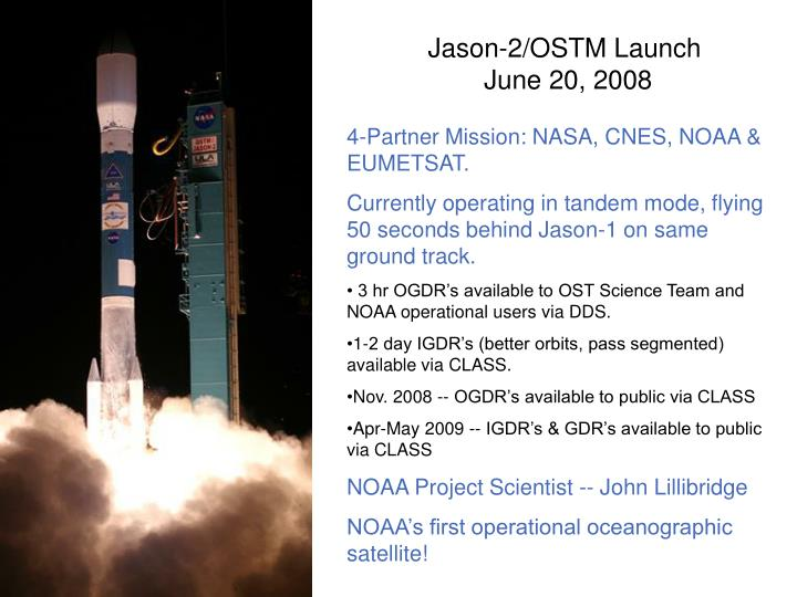 Jason 2 ostm launch june 20 2008