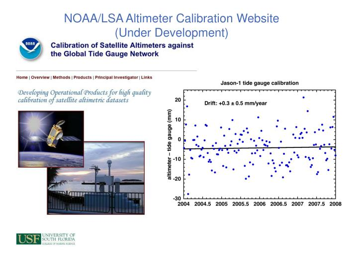 NOAA/LSA Altimeter Calibration Website