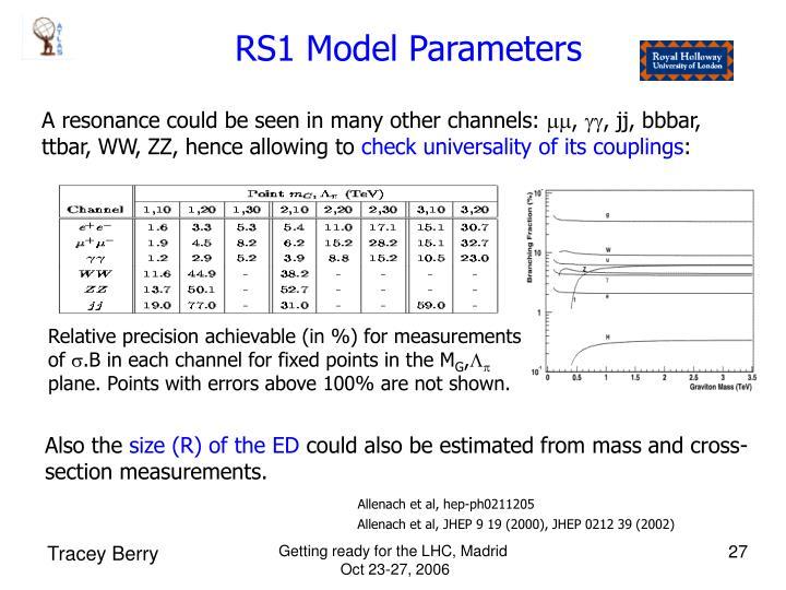 RS1 Model Parameters