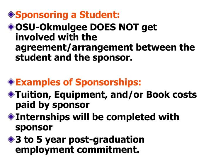 Sponsoring a Student: