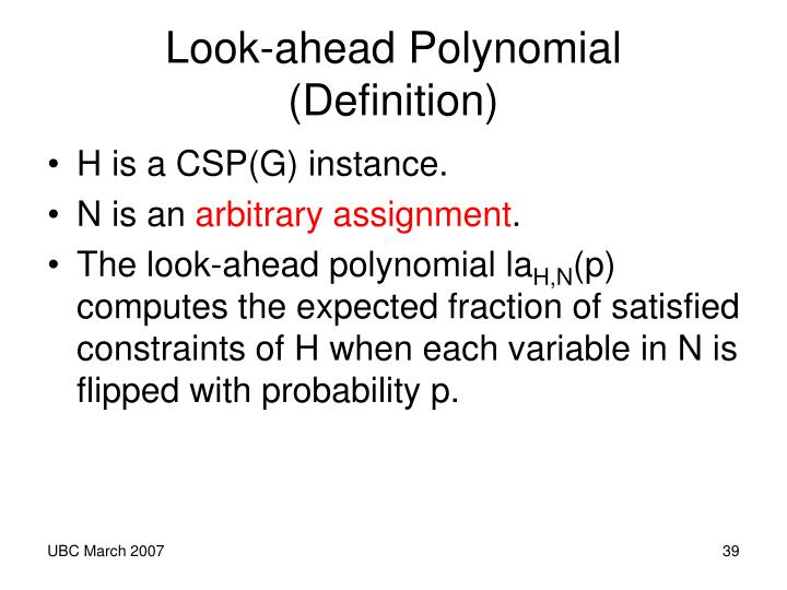 Look-ahead Polynomial