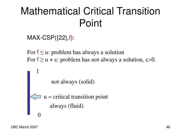 Mathematical Critical Transition Point