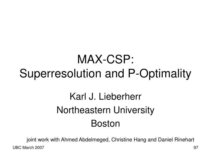 MAX-CSP: