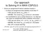 our approach to solving h in max csp g f