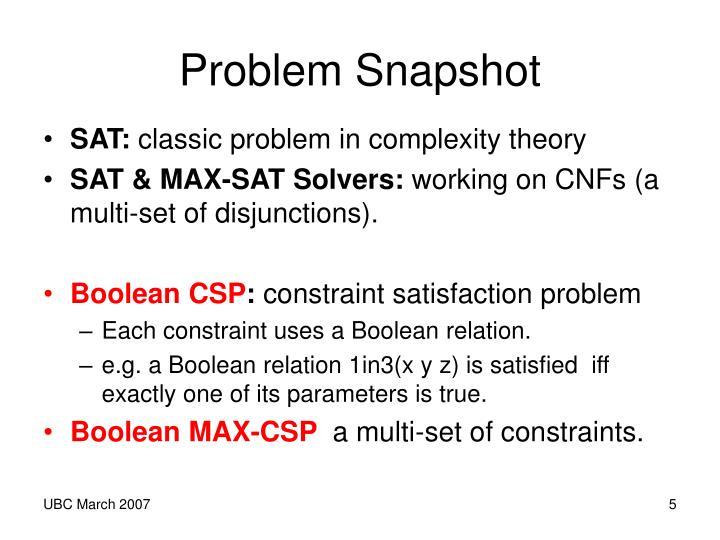 Problem Snapshot