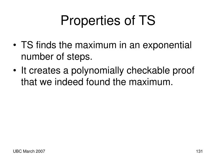 Properties of TS