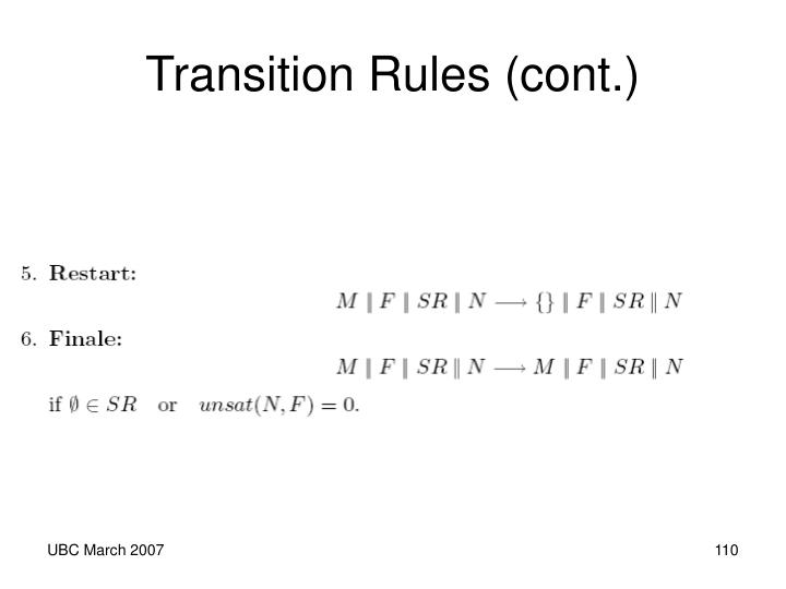 Transition Rules (cont.)
