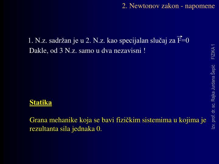 2. Newtonov zakon - napomene